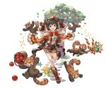 1girl :d akagi_miria animal animal_hood ankle_boots black_hair boots bow brown_eyes brown_gloves brown_shorts crop_top flat_chest full_body gloves granblue_fantasy hairband holding hood idolmaster idolmaster_cinderella_girls minaba_hideo navel official_art open_mouth red_bow red_panda scepter short_hair shorts simple_background smile solo star suspenders transparent_background two_side_up