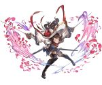 1girl ange_d'erlanger blue_eyes boots brown_hair detached_sleeves dual_wielding granblue_fantasy hat holding holding_weapon juliet_sleeves long_hair long_sleeves looking_at_viewer minaba_hideo one_eye_closed petals puffy_sleeves simple_background smile solo sword thigh-highs thigh_boots weapon