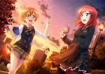 2girls :d black_sweater blush book boots bow bowtie camera green_eyes hair_between_eyes hair_ornament hairclip hairpin highres holding holding_book holding_camera hoshizora_rin index_finger_raised lamppost long_sleeves looking_at_viewer love_live! love_live!_school_idol_festival love_live!_school_idol_project miniskirt multiple_girls neck_ribbon necktie nishikino_maki official_art open_book open_mouth orange_hair outdoors pantyhose plaid plaid_skirt pleated_skirt red_necktie redhead ribbon school_uniform shooting_star short_hair skirt sleeves_rolled_up smile sunset sweater sweater_vest vest violet_eyes yellow_ribbon