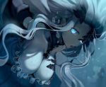 1girl abyssal_jellyfish_hime blue_eyes breasts cleavage commentary_request glowing glowing_eyes kantai_collection large_breasts long_hair looking_at_viewer one_eye_covered open_mouth shinkaisei-kan solo underwater upper_body walzrj