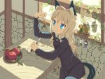 1girl animal_ears apple black_dress blonde_hair blue_eyes chisel commentary dress eyebrows eyebrows_visible_through_hair food fruit hair_intakes holding ikura_hato indoors ivy jar long_hair long_sleeves smile solo tail tail_through_clothes wavy_hair