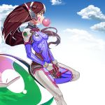 1girl bangs blue_sky bodysuit boots bracer breasts breasts_apart brown_eyes brown_hair bubble_blowing bubblegum clouds cloudy_sky covered_navel cowboy_shot d.va_(overwatch) day echa eyebrows eyebrows_visible_through_hair facial_mark from_side gloves gum gun handgun headphones highres holding holding_gun holding_weapon knee_pads knee_up leaning_back legs_apart long_hair long_sleeves looking_away medium_breasts meka_(overwatch) overwatch pauldrons pilot_suit profile ribbed_bodysuit shoulder_pads skin_tight sky solo standing standing_on_one_leg tanukimaso thigh-highs thigh_boots thigh_strap turtleneck weapon whisker_markings white_boots white_gloves