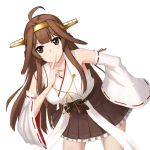 1girl ahoge bare_shoulders blush breasts brown_eyes brown_hair detached_sleeves ghound hairband headgear highres japanese_clothes kantai_collection kongou_(kantai_collection) leaning_forward long_hair looking_at_viewer nontraditional_miko parted_lips ribbon-trimmed_sleeves ribbon_trim solo