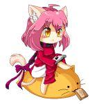 1girl animal_ears animal_tail animated_gif antennae cat heart notepad orange_eyes paper_bag pink_hair pixel ribbon scarf short_hair solo tagme