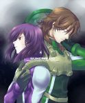 bodysuit brown_hair closed_eyes gundam gundam_00 lockon_stratos male_focus nekomori_don pilot_suit purple_hair red_eyes short_hair tieria_erde
