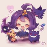 1girl :3 :d acerola_(pokemon) blush candle chibi closed_eyes dress elite_four gastly gengar hair_ornament half_updo haunter heart litwick mimikyu_(pokemon) muuran open_mouth pokemon pokemon_(creature) pokemon_(game) pokemon_sm purple_dress purple_hair short_hair short_sleeves smile solo torn_clothes torn_dress z-move