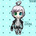 blue_eye boots chibi green_eye headphones official_artwork piko_utatane silver_hair simple_background sleeve smile tagme thigh_highs usb vocaloid