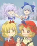 4girls aki_minoriko aki_shizuha autumn_leaves bangs blonde_hair blue_dress blue_eyes blue_hair blush bow check_commentary choker cirno collared_shirt commentary_request day dress forest grey_sky hair_between_eyes hair_bow hair_ornament hand_holding hat hat_ornament highres interlocked_fingers laughing lavender_hair leaf leaf_hair_ornament letty_whiterock long_sleeves looking_at_viewer mob_cap multiple_girls nature nose_blush open_mouth pointing polearm red_dress red_eyes ribbon ribbon_choker sasa_kichi scarf shaded_face shirt short_hair siblings sisters snow tearing_up touhou trident troll_face watery_eyes wavy_mouth weapon white_scarf white_shirt yellow_eyes yellow_shirt