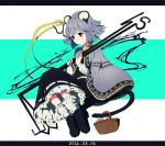 1girl 2016 alternate_costume animal_ears basket belt belt_buckle black_dress black_shoes blue_background buckle cape dowsing_rod dress full_body grey_cape grey_hair hair_ribbon letterboxed long_sleeves mouse mouse_ears mouse_tail nazrin red_eyes ribbon shishi_osamu shoes smile solo tail tail_hold touhou white_background white_legwear yellow_ribbon
