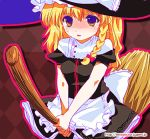 1girl :o apron black_dress blonde_hair blue_eyes braid broom broom_riding dress female hat kirisame_marisa looking_at_viewer omuni parted_lips puffy_short_sleeves puffy_sleeves shaded_face short_hair short_sleeves single_braid sitting solo straddling touhou upright_straddle violet_eyes waist_apron wavy_hair witch_hat