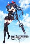 1girl absurdres bare_shoulders black_hair breasts choujigen_game_neptune cleavage four_goddesses_online:_cyber_dimension_neptune hair_ornament highres long_hair looking_at_viewer neptune_(series) noire polearm ramu-on@_shinon red_eyes ribbon solo spear twintails very_long_hair weapon