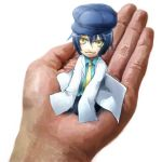 androgynous blue_hair cabbie_hat hands harald hat kneeling labcoat minigirl necktie negi_hei oversized_clothes persona persona_4 reverse_trap shirogane_naoto short_hair smile solo yellow_eyes