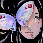 black_hair blue_eyes butterfly close-up lips lowres oekaki solo