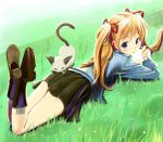 cat eating food futari_no_ana grass hair_ribbon kanon legs long_hair lying nikuman orange_hair piro ribbon sawatari_makoto skirt twintails wadapen