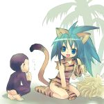 ass banana blue_eyes cat_ears chamcham eating food fruit gloves green_hair holding holding_fruit kneeling long_hair monkey paku_paku samurai_spirits smile snk tail wanko_(pixiv)