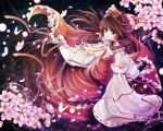 bad_id bow brown_eyes brown_hair butterfly cherry_blossoms detached_sleeves flower frills hagiwara_rin hair_bow hakurei_reimu long_hair looking_at_viewer touhou wide_sleeves