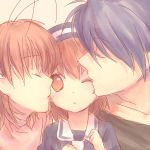 bad_id blue_hair brown_eyes brown_hair clannad closed_eyes dress face family furukawa_nagisa hat husband_and_wife kiss okazaki_tomoya okazaki_ushio short_hair sketch takekono wink