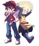 1girl baseball_cap hat holding holding_poke_ball ichigatsu_toshikazu poke_ball pokemon pokemon_special red_(pokemon) straw_hat wink yellow_(pokemon)