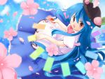 flower food fruit hat hinanawi_tenshi leaf peach petals red_eyes solo touhou