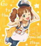baseball_cap brown_hair button_badge green_eyes hands hat idolmaster overalls pointing pouch sei-teki short_hair solo takatsuki_yayoi twintails wink