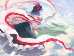 cloud clouds flying frills hat iwamoto_james nagae_iku red_eyes scenery sky touhou