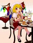 cake cream_puff doughnut eating flandre_scarlet food food_on_face frills highres ice_cream macaron mizu_asato pastry pocky pudding red_eyes ruffles sitting touhou wings