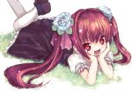 hair_flower hair_ornament kiira kooh lying on_stomach pangya pantyhose red_hair redhead twintails