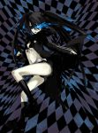 black_hair black_rock_shooter black_rock_shooter_(character) checkerboard checkered glowing glowing_eyes midriff scar shorts solo twintails