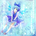 amemura bad_id blue_dress blue_eyes blue_hair bow cirno dress hair_bow mary_janes shoes short_hair smile touhou wings