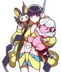 1girl bangs black_hair blue_eyes blue_nails blunt_bangs carrying coat emolga flaaffy gym_leader headphones kamitsure_(pokemon) long_hair nail_polish open_clothes open_coat pokemon pokemon_(game) pokemon_bw2 twintails very_long_hair yurizuka_(sergeant_heart)