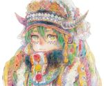 androgynous buttons closed_mouth coin_(ornament) facepaint flower fur_trim gem green_hair hair_between_eyes headdress horns lace looking_at_viewer midoritaitu original pom_pom_(clothes) red_rose rose simple_background solo traditional_clothes traditional_media turtleneck upper_body watercolor_(medium) white_background yellow_eyes yellow_rose