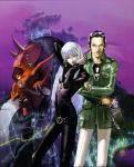 1girl 2boys artist_name azazel_(megami_tensei) beard black_hair bodysuit demon earrings facial_hair glasses_on_head highres horns jacket jewelry kazuma_kaneko landscape lipstick makeup multiple_boys nemissa pale_skin pointy_ears red_skin screw shin_megami_tensei soul_hackers watch watch white_hair zipper