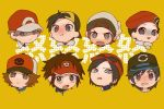 >:t 6+boys :t angry baseball_cap beanie black_hair blank_stare brown_eyes brown_hair calme_(pokemon) gold_(pokemon) grey_eyes grey_eyes hat kouki_(pokemon) kyouhei_(pokemon) looking_at_viewer male_protagonist_(pokemon_sm) multiple_boys open_mouth pokemon pokemon_(game) pokemon_bw pokemon_bw2 pokemon_dppt pokemon_frlg pokemon_hgss pokemon_oras pokemon_sm pokemon_xy pout red_(pokemon) red_(pokemon)_(remake) scarf shaded_face short_hair simple_background sunglasses sunglasses_on_head tearing_up touya_(pokemon) visor_cap yellow_background yo-ten