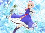 1girl 3d alice_margatroid arms_up backlighting blonde_hair blue_eyes capelet clock commentary_request dutch_angle flower glowing hairband highres kurogoma_(meganegurasan) light light_particles looking_at_viewer mikumikudance necktie short_hair smile solo touhou