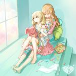 2girls :3 asymmetrical_legwear bangs bare_shoulders barefoot blonde_hair breasts brown_eyes brown_hair candy candy_cane chips closed_eyes collarbone dress eyebrows eyebrows_visible_through_hair feet food futaba_anzu hair_ornament holding_stuffed_animal hug hug_from_behind idolmaster idolmaster_cinderella_girls jewelry kneehighs knees_together_feet_apart knees_up long_hair long_sleeves looking_away low_twintails moroboshi_kirari multiple_girls necklace no_shoes npty off_shoulder ribbon shirt shorts single_thighhigh sitting sitting_on_lap sitting_on_person skirt sleeping smile stairs star star_hair_ornament striped striped_legwear stuffed_animal stuffed_bunny stuffed_toy thigh-highs towel twintails very_long_hair white_legwear window