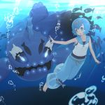 1girl air_bubble blue_eyes blue_hair blush bubble hairband open_mouth pokemon pokemon_(game) pokemon_sm sakurea short_hair sleeveless smile solo suiren_(pokemon) swimming underwater water wishiwashi
