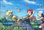 1girl 2boys anniversary arm_behind_head bag beanie beret black_border black_hair blonde_hair blue_eyes blue_hair blue_sky border closed_eyes dated drifloon grass green_scarf hair_ornament hairclip hat hikari_(pokemon) hot_air_balloon jacket jun_(pokemon) kouki_(pokemon) lake looking_at_another messenger_bag mountain multiple_boys orange_eyes pink_scarf pointing pokemon pokemon_(creature) pokemon_(game) pokemon_dppt red_scarf running scarf shinx short_sleeves shoulder_bag sky smile starly terimachi tree twitter_username