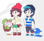 1boy 1girl amamimaru backpack bag baseball_cap beanie black_hair brown_eyes bubble capri_pants closed_eyes color_drain dartrix female_protagonist_(pokemon_sm) green_shorts grey_background grey_eyes hat male_protagonist_(pokemon_sm) messenger_bag pants pokemon pokemon_(creature) pokemon_(game) pokemon_sm popplio shirt shoes short_hair shorts shoulder_bag simple_background smile sneakers striped striped_shirt t-shirt tied_shirt