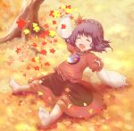 1girl ^_^ arm_support autumn autumn_leaves barefoot closed_eyes feet hair_ornament happy highres leaf_hair_ornament legs_apart long_sleeves mirror open_mouth purple_hair red_shirt red_skirt rope shimenawa shirt short_hair sitting skirt soles solo tatuhiro touhou tree yasaka_kanako younger