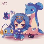 1girl blue_eyes blue_hair blush chibi chinchou finneon hairband lapras muuran pokemon pokemon_(creature) pokemon_(game) pokemon_sm popplio pyukumuku short_hair suiren_(pokemon) wishiwashi