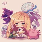1girl aether_foundation blonde_hair chibi clefable dress gem green_eyes lilligant long_hair lusamine_(pokemon) mismagius muuran nihilego npc npc_trainer open_mouth pokemon pokemon_(creature) pokemon_(game) pokemon_sm sleeveless sleeveless_dress translation_request ultra_beast very_long_hair