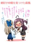 >_< 2girls :d ahoge asakaze_(kantai_collection) blue_eyes blush brown_hair chibi closed_eyes commentary_request curly_hair gloves grey_hair hagikaze_(kantai_collection) handshake heart heart_in_mouth highres kamelie kantai_collection long_hair meiji_schoolgirl_uniform multiple_girls one_side_up open_mouth pleated_skirt school_uniform skirt smile sweat translation_request white_gloves xd