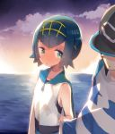 1boy 1girl bangs baseball_cap black_hair black_hat blue_eyes blue_hair blush clouds commentary_request flipped_hair full-face_blush hairband hat horizon kanro_ame_(ameko) male_protagonist_(pokemon_sm) ocean outdoors parted_lips pokemon pokemon_(game) pokemon_sm sailor_collar shirt short_hair sky sleeveless striped striped_shirt suiren_(pokemon) sunset swimsuit swimsuit_under_clothes t-shirt water white_shirt