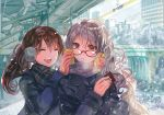 2girls :d breath brown_hair can can_to_cheek canned_coffee closed_eyes coat commentary_request earmuffs glasses happy long_hair multiple_girls open_mouth original red-framed_eyewear rioka_(southern_blue_sky) scarf smile twintails white_hair winter winter_clothes