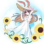 1girl animal_ears brown_hair bunny_girl dress flower hat highres iesupa rabbit_ears rwby sun_hat sundress sunflower velvet_scarlatina white_dress