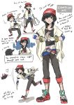 1boy androgynous bag beanie capri_pants character_sheet dc9spot english female_protagonist_(pokemon_sm) fingerless_gloves fusion gloves grey_hair hat highres long_hair male_focus male_protagonist_(pokemon_sm) master_ball older pants poke_ball pokemon pokemon_(creature) pokemon_(game) pokemon_sm pyukumuku shirt shopping_bag simple_background solo striped striped_shirt sunglasses ultra_ball white_background z-ring