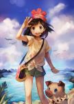 1girl artist_name bangs bare_legs beanie black_hair blue_eyes blue_sky clouds cowboy_shot day female_protagonist_(pokemon_sm) floating_hair floral_print green_shorts hat miu_pachi open_mouth outdoors pokemon pokemon_(creature) pokemon_(game) pokemon_sm red_hat rockruff selene_(pokemon) shading_eyes shirt short_hair short_shorts short_sleeves shorts sky swept_bangs t-shirt tied_shirt water wind wrist_extended z-ring