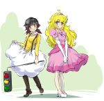 cosplay dress goggles highres iesupa mario_(series) pink_dress princess_peach princess_peach_(cosplay) ruby_rose rwby siblings sisters super_mario_bros. traffic_light yang_xiao_long