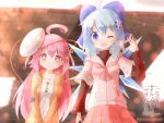 2girls ;d ahoge alternate_costume blue_eyes blue_hair casual cirno contemporary hair_ornament hairpin hata_no_kokoro hood hooded_jacket ice ice_wings jacket long_hair looking_at_viewer mask mask_on_head multiple_girls one_eye_closed open_mouth pink_eyes pink_hair pleated_skirt short_hair skirt smile tokyo_big_sight touhou translation_request waving wings yurume_atsushi