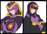 2girls arbok black_hair blue_eyes breasts ekans facepaint headdress hood huge_breasts multiple_girls personification pokemon purple_hair sharp_teeth space_jin teeth yellow_eyes